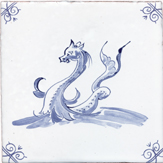 blue delft sea creature three