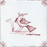 crimson delft bird design six