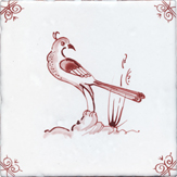 crimson delft bird design three
