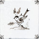 sepia delft bird design five