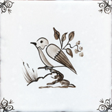 sepia delft bird design one
