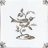 sepia delft bird design six
