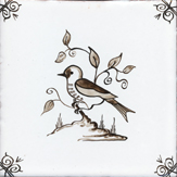 sepia delft bird design three