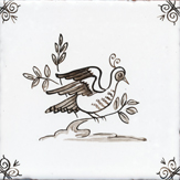 sepia delft bird design two